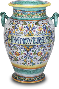 """In Vino Veritas"" (in wine, truth) - fine Italian ceramic urn"